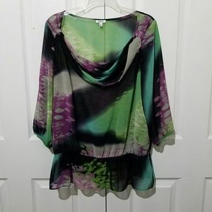 Nicola Sheer Blouse Waterfall Neckline Size L